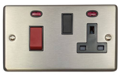 G&H CSS29B Standard Plate Brushed Steel 45 Amp DP Cooker Switch & 13A Switched Socket